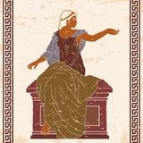 Ancient Greek woman. An ancient Greek woman in a tunic is sitting on a stone pedestal. Vector image on beige background vector illustration