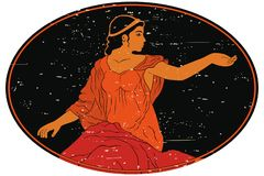 Ancient Greek woman. An ancient Greek woman in a tunic. Vector oval medallion isolated on white background vector illustration