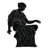 Ancient Greek woman. Profile of an ancient greek woman in a tunic. Vector oval medallion isolated on white background royalty free illustration