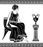 Ancient Greek woman. Sitting on a chair, black stencil Royalty Free Stock Images
