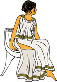 Ancient Greek woman. Sitting on a chair colored variant Stock Image
