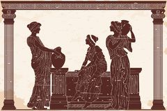 Ancient Greek woman. Three ancient Greek women are talking near the parapet with jugs. Antique fresco on a beige background with an aging effect vector illustration