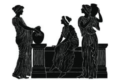 Ancient Greek woman. Three ancient Greek women are talking near the parapet with jugs. Vector image isolated on a white background stock illustration