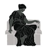 Ancient Greek woman. An ancient Greek woman in a tunic sits and holds a jewelry in her hand. Vector oval medallion isolated on white background stock illustration