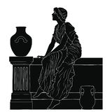 Ancient Greek woman. An ancient Greek woman in a tunic is sitting on the parapet between two jugs. Vector image isolated on a white background stock illustration