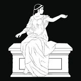 Ancient Greek woman. An ancient Greek woman in a tunic is sitting on a stone pedestal. Vector image isolated on black background stock illustration