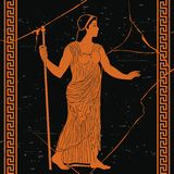 Ancient greek woman. Ancient Greek woman in a tunic with a staff in her hand on a black background with the effect of aging and cracks royalty free illustration