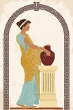 Ancient Greek woman. An ancient Greek woman in a tunic is standing with a jug in her hands. Vector color image on a beige background with the effect of aging stock illustration