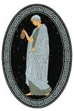 Ancient Greek woman. An ancient Greek woman in a tunic is standing with a jug in her hands. Vector oval medallion isolated on a white background royalty free illustration