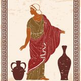 Ancient Greek woman. An ancient Greek woman in a tunic is standing between two jugs. Vector image isolated on black background royalty free illustration