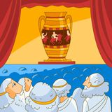 Ancient Greeks looks at the vase Royalty Free Stock Photos