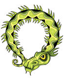 Ancient green chinese exotic green dragon illustration Royalty Free Stock Photo