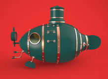 Ancient green submarine Stock Photo