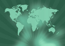 Ancient green world map. In greenish background Stock Image