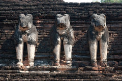 Ancient group of elephants statue at pagoda . Stock Image