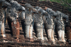 Ancient group of elephants statue at pagoda . Royalty Free Stock Photo