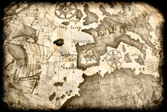 Ancient grunge map. With close up on europe and africa stock images