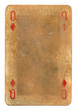 Ancient  grunge playing card queen of diamonds background. Ancient dirty grunge playing card queen of diamonds paper background isolated on white Royalty Free Stock Photo