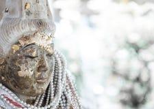Ancient Guanyin statue closeup Royalty Free Stock Photo