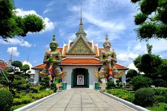 Ancient Guardian Giants in Front of Wat Arun Entrance, Bangkok Thailand. Tonal Contrast Style Royalty Free Stock Image