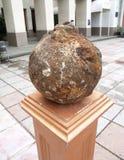 Ancient gun kernel on a pedestal. Yalta, Crimea Stock Images