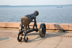 Ancient gun on quay. Stock Photography
