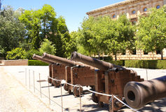 Ancient guns in Alhambra Castle, Spain Stock Photography