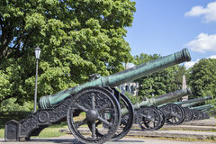 Ancient guns about the museum. In St. Petersburg Royalty Free Stock Photography