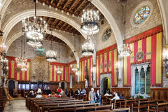 Ancient hall in city hall  in Barcelona, Spain. Royalty Free Stock Photography