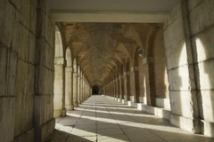 Ancient hallway of Royal Palace in Aranjuez Stock Image