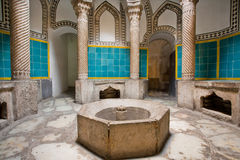 Ancient hamam in the Persian style with columns and beautiful walls decorated with tiles Royalty Free Stock Photos