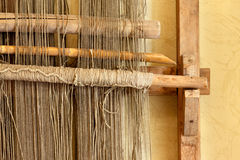 An ancient hand loom used to weave blankets Stock Photos