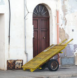 Ancient handcart in Trapani harbor. In Italy Royalty Free Stock Photo