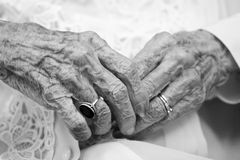 Ancient hands stock images