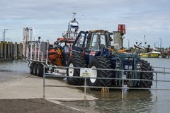 The Royal National Lifeboat Institute RNLI rescue rig and inflatable boat at Rye Harbour, East Sussex, England royalty free stock photo