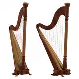 Ancient harp isolated. Two angles of view Royalty Free Stock Images