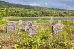 Ancient Hebrew cemetery. With inscriptions on the stones Royalty Free Stock Photography