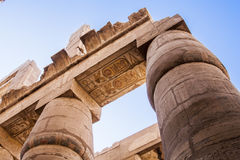 Ancient heiroglyphics on the pillars of Karnak Temple. Luxor, Egypt stock photo