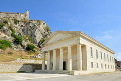 Ancient Hellenic temple in Kerkira. Corfu, Greece. Today it is St. George church. Public domain Royalty Free Stock Photography