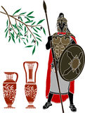 Ancient Hellenic Warrior And Jugs Royalty Free Stock Photography