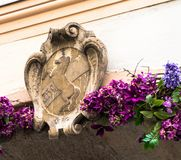Ancient heraldic coat of arms on one old building. Salzburg, Austria Royalty Free Stock Photography