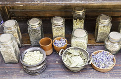 Ancient herbal medicines stock photography