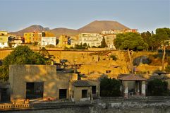 Herculaneum and Ercolano, Campania, Italy. Ancient Herculaneum and Modern day Ercolano.nnHerculaneum was buried in the eruption of Mount Vesuvius in AD 79 Royalty Free Stock Photo