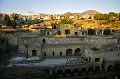 Herculaneum and Ercolano, Campania, Italy. Ancient Herculaneum and Modern day Ercolano.nnHerculaneum was buried in the eruption of Mount Vesuvius in AD 79 Royalty Free Stock Photos