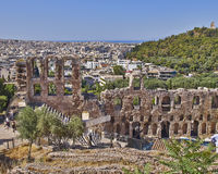 Ancient Herodeion theatre and Athens cityscape Stock Photography