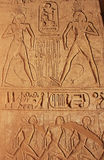 Ancient hieroglyphics on the wall of Great temple of Abu Simbel, Stock Photo