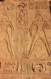 Ancient hieroglyphics on the wall of Great temple of Abu Simbel, Stock Photos