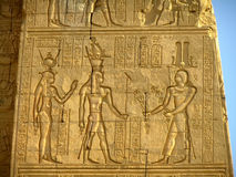 Ancient hieroglyphics on the wall of Kom Ombo temple Stock Image