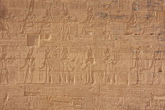 Ancient hieroglyphics on the wall of Philae Temple Royalty Free Stock Photos
