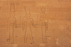 Ancient hieroglyphics on the wall of Philae Temple Stock Photos